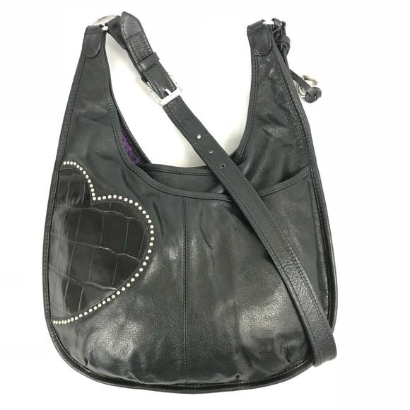 ace5c41eedb Brighton Handbags - Brighton Hip Heart Black Leather Studded Handbag